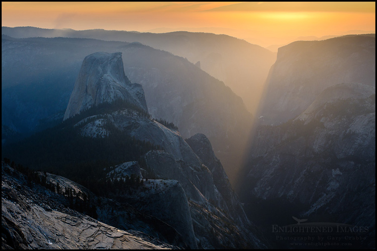 Image:  Sunset light streaming down Yosemite Valley toward Half Dome, Yosemite National Park, California - ID# 111024b_YOScr-0004