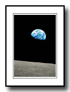 Earthrise from the moon from Apollo 8 by Wm. Anders