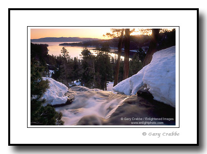 Stock Photo: Eagle Falls at sunrise in winter above Emerald Bay, Lake Tahoe, California