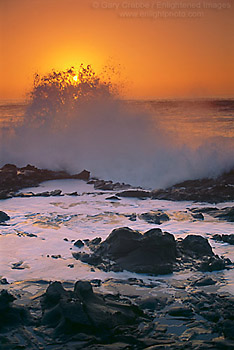 Crashing wave at sunset on coastal rocks, Bean Hollow State Beach, San Mateo County coast, California
