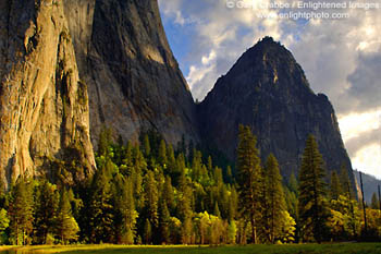 Sunset light at the base of Cathedral Rock in spring, Yosemite Valley, Yosemite National Park, California.