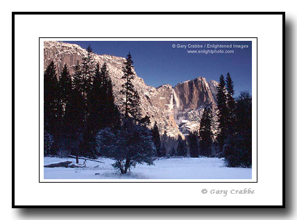 picture: Yosemite Falls in Winter from Yosemite Valley, California