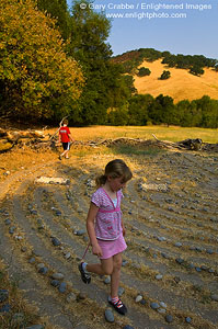 Kids walking in outdoor labyrinth