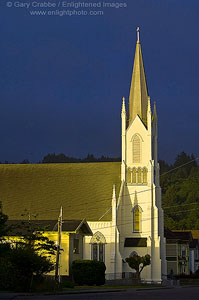 Sunlight on Church steeple in Ferndale, California