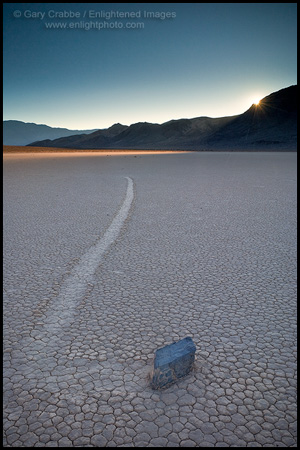 Picture: Mysterious moving rock on the Racetrack Playa at sunset, Death Valley National Park, California
