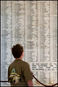 Photo: My son reading the Wall of Names at the USS ARIZONA Memorial, Pearl Harbor, Oahu, Hawaii