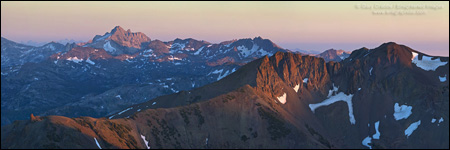 Picture: Panorama overlooking the Emigrant Wilderness at sunset near Sonora Pass, Tuolumne County, California