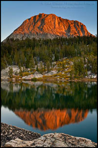 Photo: Sunset light on Fletcher Peak reflected in Boothe Lake, Yosemite National Park, California