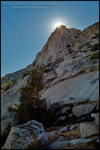Photo: Sunbrust through rocks on the crest of Vogelsang Peak, Yosemite National Park, California