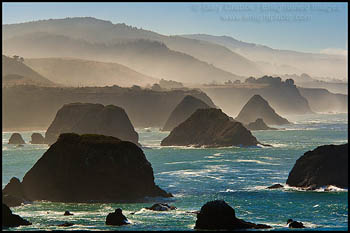 Photo: Morning mist and sea stacks along the Mendocino County coast, near Elk, California