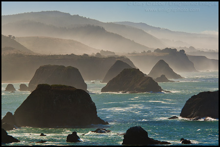 Photo: Seastacks, morning light, and fog along the coast near Elk, Mendocino County, California
