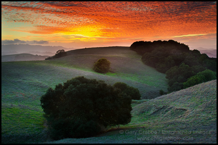 Photo: Red sky at sunset over hills in Briones Regional Park, Contra Costa County, California