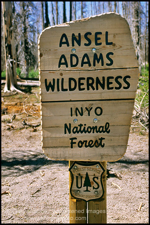 Photo: Sign marking the border at a trail entrance to the Ansel Adams Wilderness, near Devils Postpile, Eastern Sierra, California