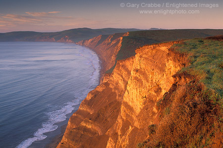 Picture: Sunrise light on cliffs above Drakes Bay, Point Reyes National Seashore, Marin County, California
