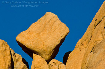 Large rock boulder balanced on edge, Joshua Tree National Park, California
