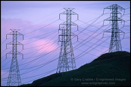 Photo: High Tension Power Transmission Lines and Towers in the local hills, near Martinez, California