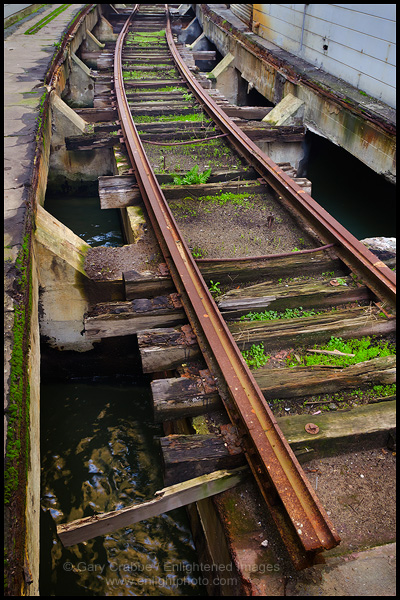 Photo: End of a railroad track built along the waterfront between Pier 24 & Pier 26, San Francisco, California