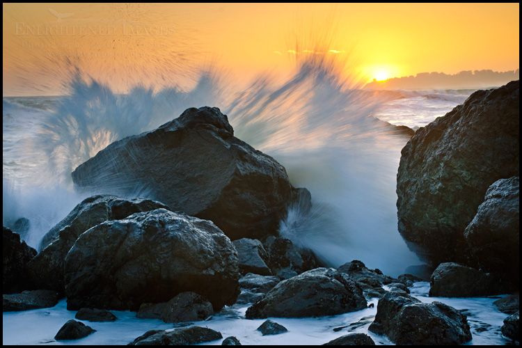 Image: Wave crashing on coastal rocks at sunset, near Stinson Beach, Marin County, California