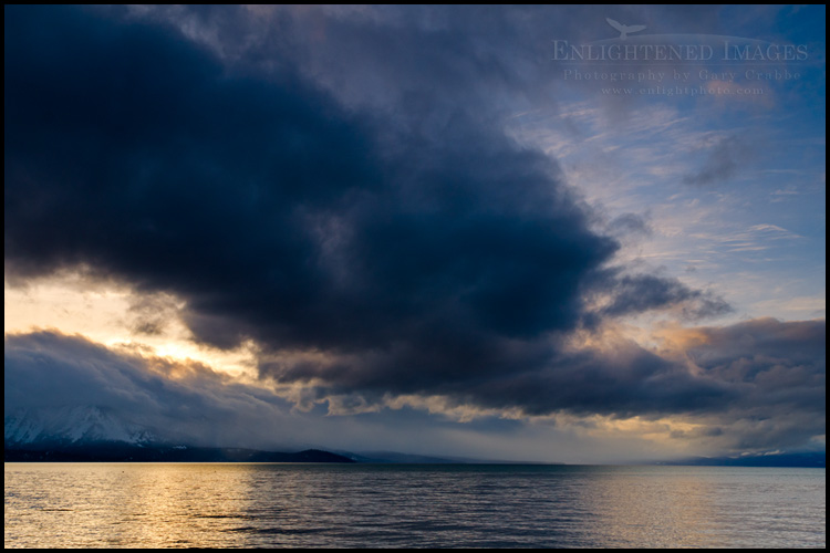 Image: Storm cloud over Lake Tahoe at sunset, from South Lake Tahoe, California