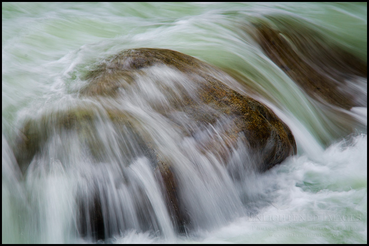 Image: Water rushing over boulders in the Merced River (Detail), Yosemite National Park, California
