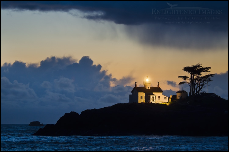 Image: Storm clouds in evening roll over Battery Point Lighthouse, Crescent City, Del Norte County coast, California