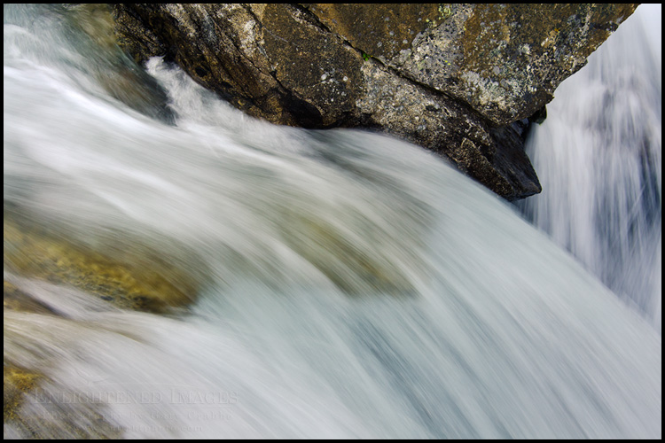 Image: Flowing water next to rock in waterfall (Detail), Horsetail Falls, Desolation Wilderness, California