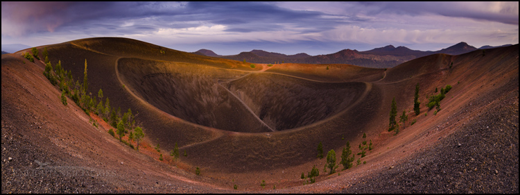 Image:  Stormy sunset light atop the Cinder Cone, Lassen Volcanic National Park, California - ID# 110915b_LVNP-0569-0577