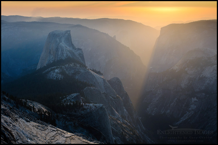 Image: Sunset over Yosemite Valley and Half Dome from the summit of Clouds Rest, Yosemite National Park, California