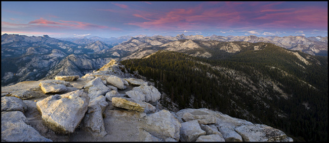 Image: Evening light and clouds over the High Sierra from the summit of Clouds Rest, Yosemite National Park, California