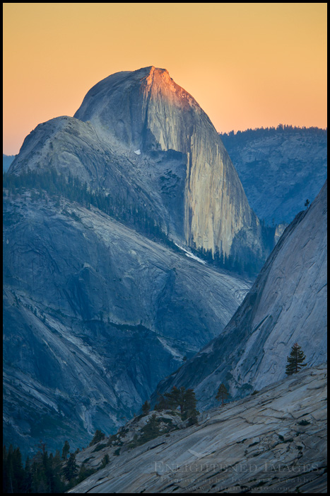 Image: Last light of sunset on the summit of Half Dome as seen from Olmsted Point, Tioga Pass Road, Yosemite National Park, California