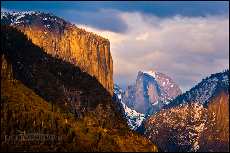 Image: El Capitan and Half Dome during a late winter sunset, Yosemite National Park, California