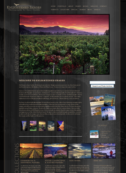 new Enlightened Images Web Site Home Page