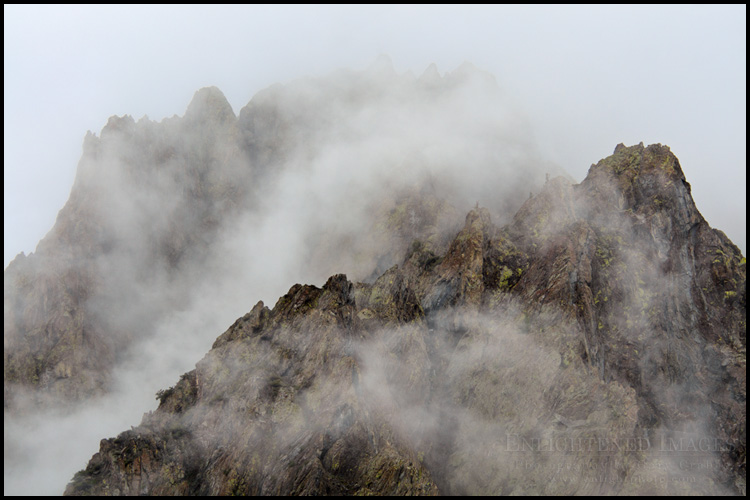 Image: Rugged mountain peaks coming out of the clouds along McGee Creek, Eastern Sierra, California