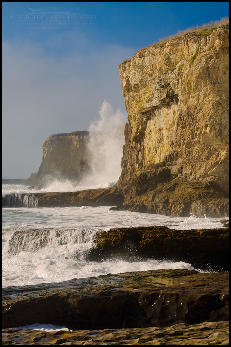 Image: 40'-high wave splash after hitting rocks at the base of the coastal at Bonny Doon Beach, Santa Cruz County coast, California