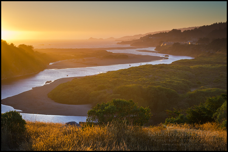 Image: Sunset over the mouth of the Gualala River, on the border between the Sonoma and Mendocino County coastlines, Gualala, California