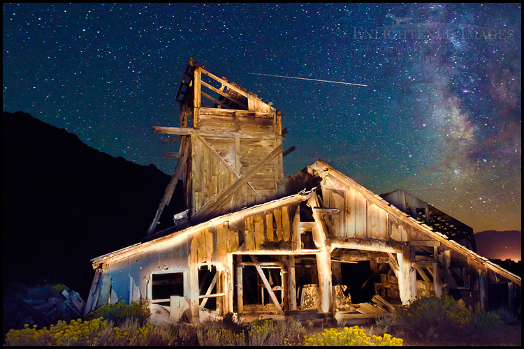 Image: Light-painted abandoned mine at night, Mono County, California