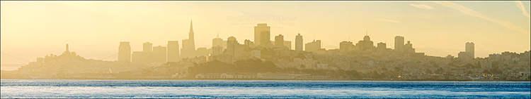 Image: Panorama of San Francisco at sunrise from across San Francisco Bay, California 