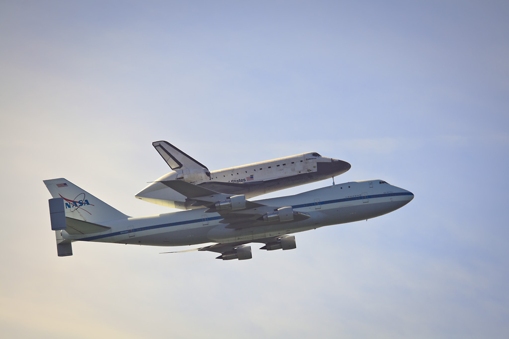 Image: Space Shuttle Endeavour on her final farewell tour of the United States, being ferried piggyback on a 747, California