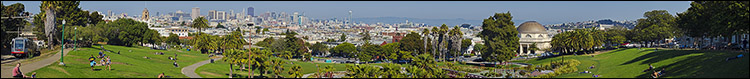 Image: Panorama looking out over the Mission District from Delores Park, San Francisco, California