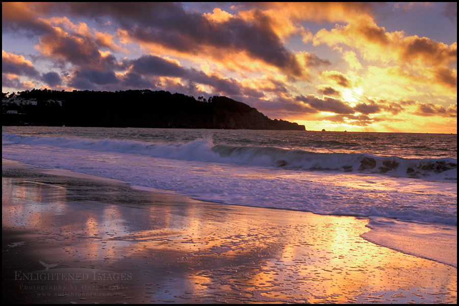 Image: Sunset over Lands End as seen from Baker Beach in the Presidio, San Francisco, California