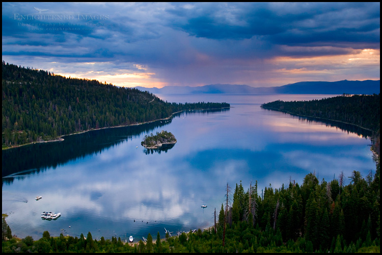 Image: Rain storm clouds at sunrise over the still waters of Emerald Bay State Park, South Lake Tahoe region, California