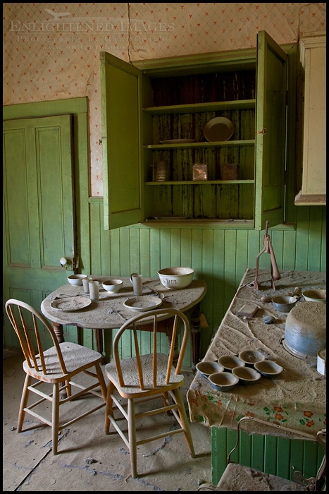Image: Empty cupboards in abandoned kitchen, Bodie State Historic Park, California