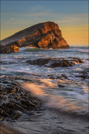 Image: Sunset light on Greyhound Rock, San Mateo County coast, California