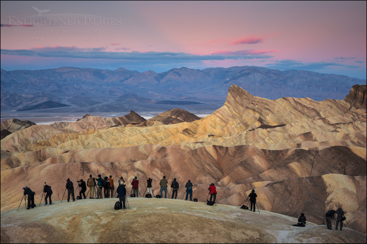 Image: Photographers lined up at sunrise, Zabriskie Point, Death Valley National Park, California
