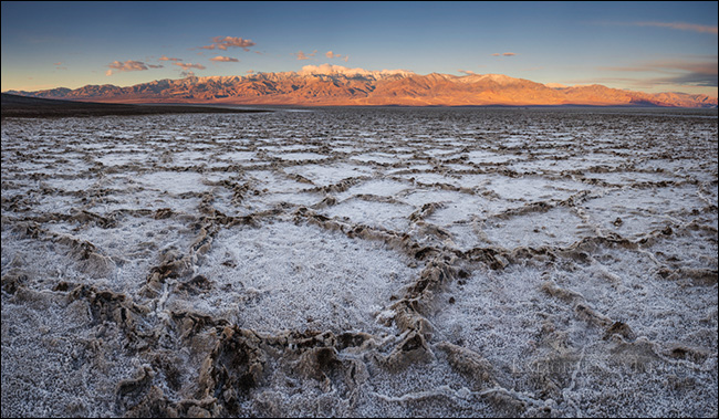 Image: Panorama of the salt formations at sunrise in the Badwater Basin, (at 282 feet below sea level, it's the lowest elevation in North America) Death Valley National Park, California.