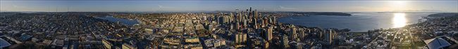 Image: 360-degree view of downtown Seattle from the top of the Seattle Space Needle, Seattle, Washington State