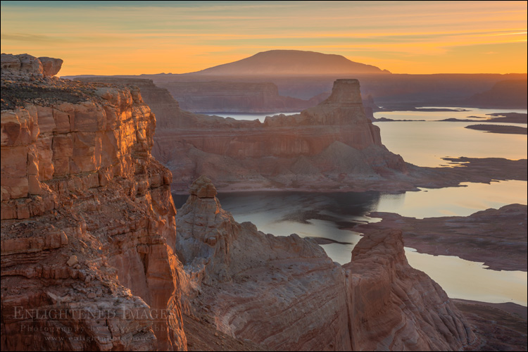 Image: Sunrise light over Lake Powell and Navajo Mountain, Glen Canyon NRA, Utah