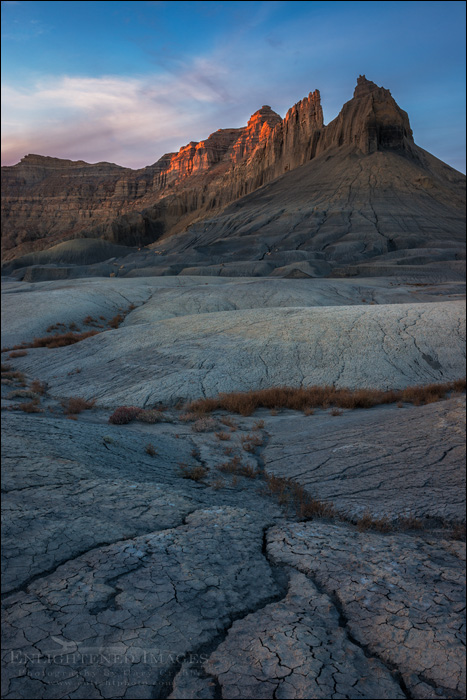 Image: Sunset light on butte in the Glen Canyon National Recreation Area, Utah