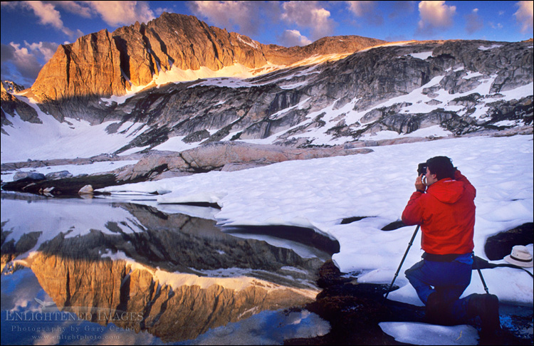 Image: Photographer shooting sunrise light on North Peak, Hoover Wilderness, Eastern Sierra, California