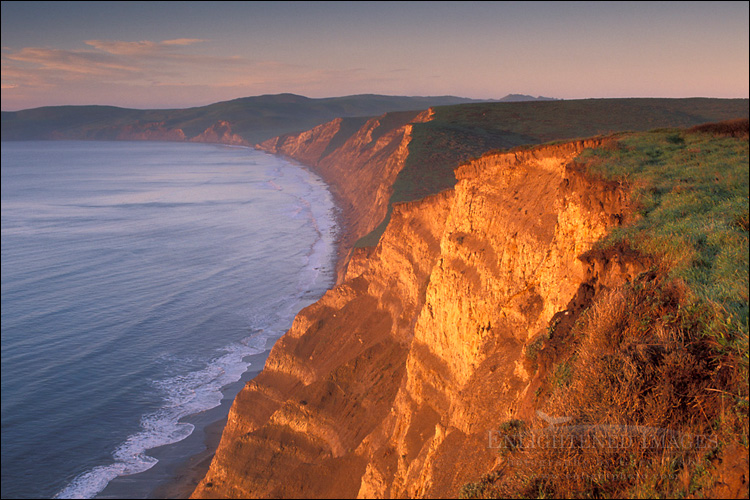 Image: Sunrise light on coastal cliffs above Drakes Beach, Drakes Bay, Point Reyes National Seashore, Marin County, California
